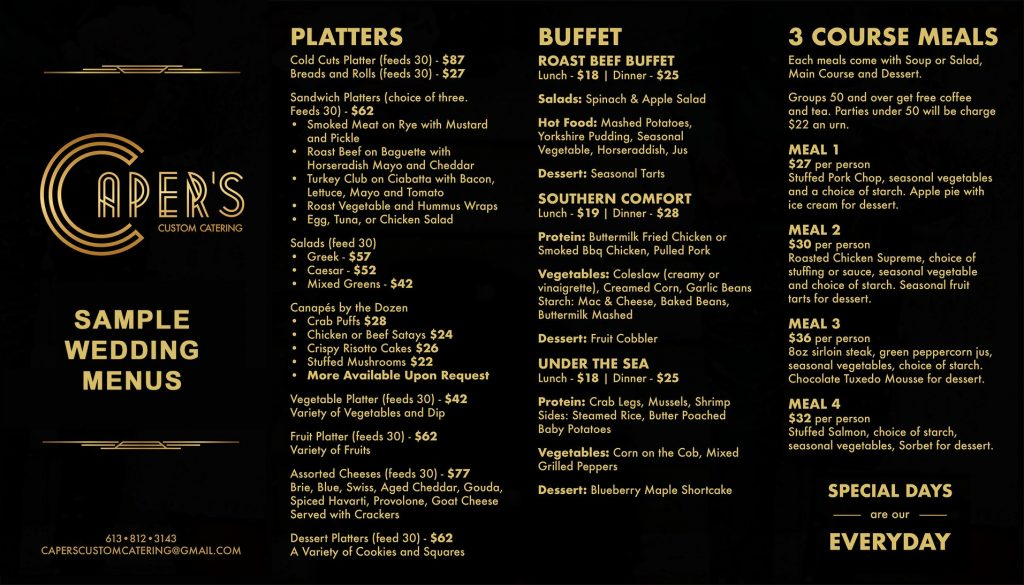 Catering Wedding Sample Menu
