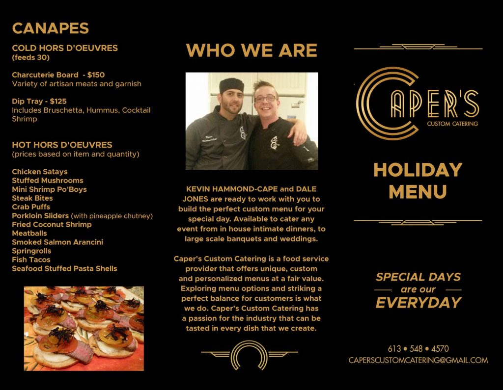 Catering Holiday Event Menu